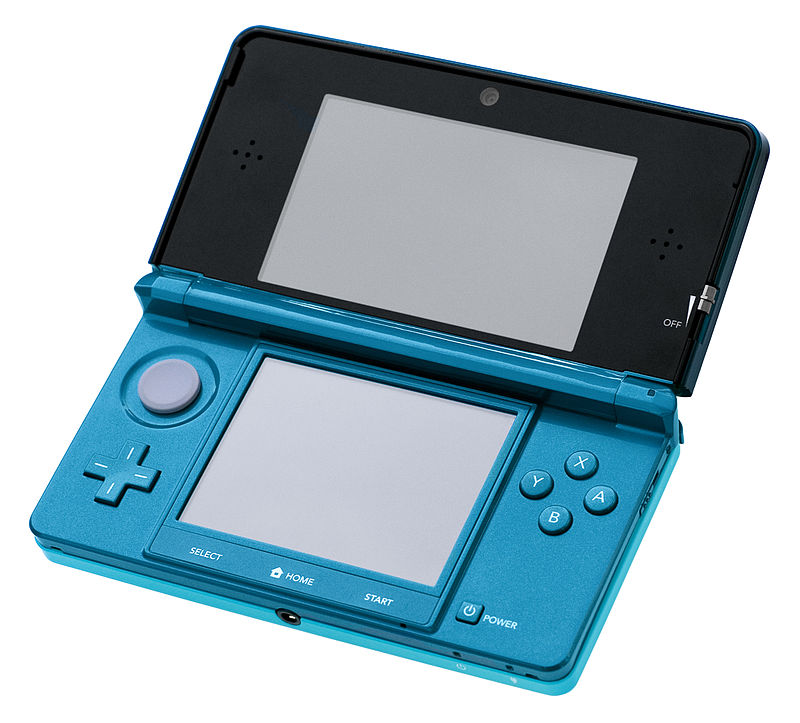 """Nintendo-3DS-AquaOpen"" by Evan-Amos - Own work. Licensed under Public Domain via Commons - http://commons.wikimedia.org/wiki/File:Nintendo-3DS-AquaOpen.jpg#/media/File:Nintendo-3DS-AquaOpen.jpg"